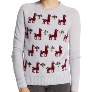 J Crew Knit Wool Llama Holiday Sweater Embellished